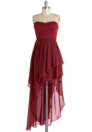Yes, You Cannes Dress - Red, Solid, Ruffles, Cocktail, High-Low Hem, Strapless, Sweetheart, Mid-length, Chiffon, Knit, Woven, Formal