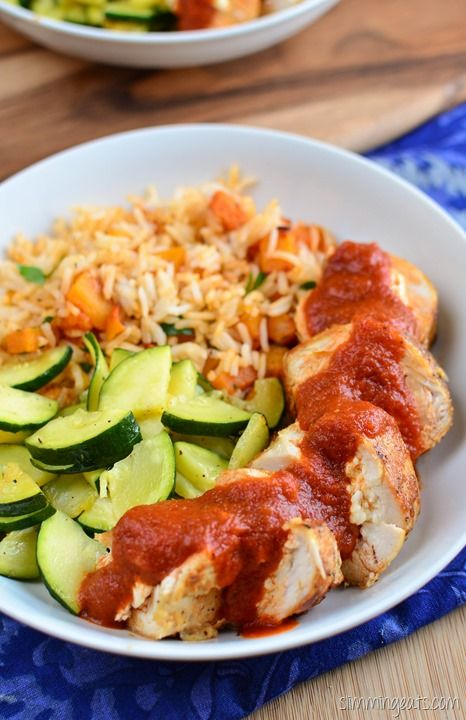 Slimming Eats Feta Stuffed Chicken with Roasted Red Pepper Sauce - gluten free, Slimming World (SP) and Weight Watchers friendly