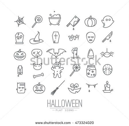 Set of halloween icons drawing in flat style on white background.