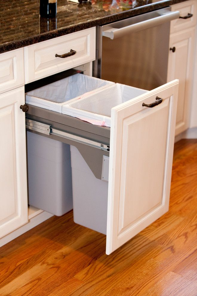 Two Tone Kitchen - traditional - kitchen trash cans - providence - Kitchens  by Design Inc