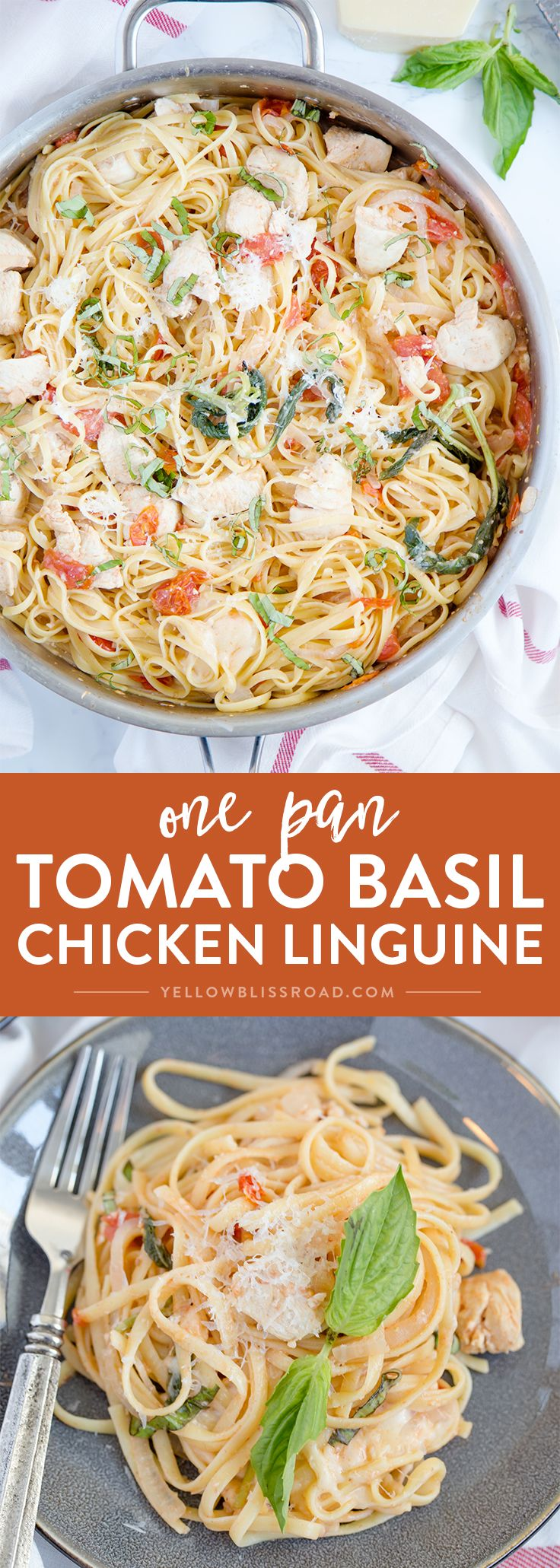 One Pan Tomato Basil Chicken Linguine - A quick and easy pasta dish that's ready in 20 minutes.; a delicious weeknight meal.