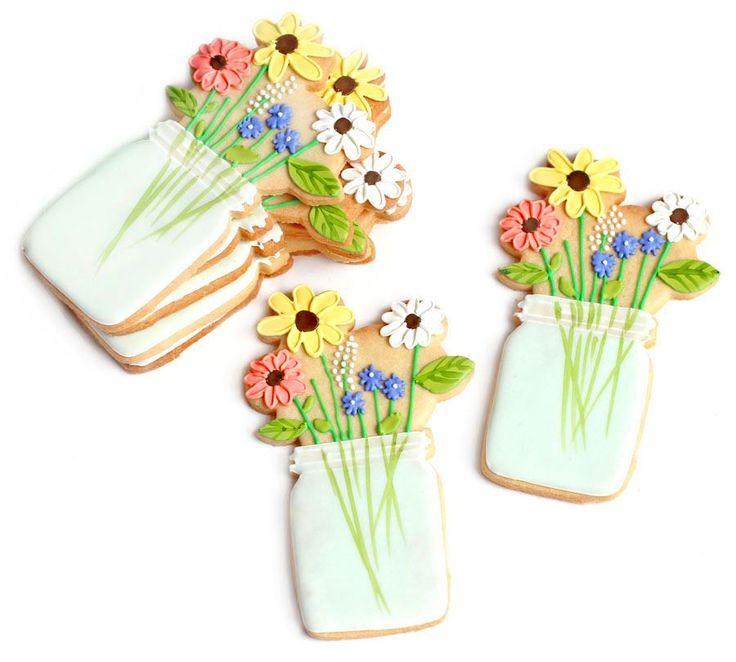 Mason jar vase flowers cookies Baked Ideas