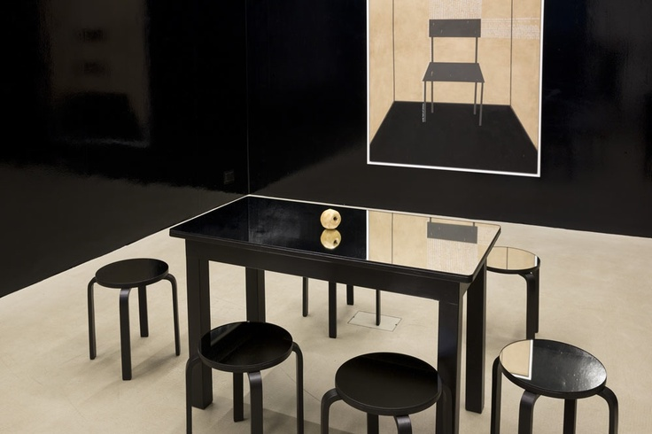 Untitled, 2013  one table, six chairs, one sculpture wood, mirror  variable dimensions   kaufmann repetto, Milan