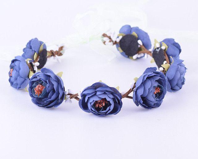 CXADDITIONS Bridal Floral Adjustable Crown Hair Wreath girl Breath Camellia Flower Simple Halo Woodland Hairpiece Wedding Rustic