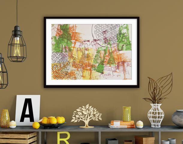 Kristina Hoover - Kristina Hoover Fine Art. Framed abstract Screen Print. Modern Art. Home decorating. living room