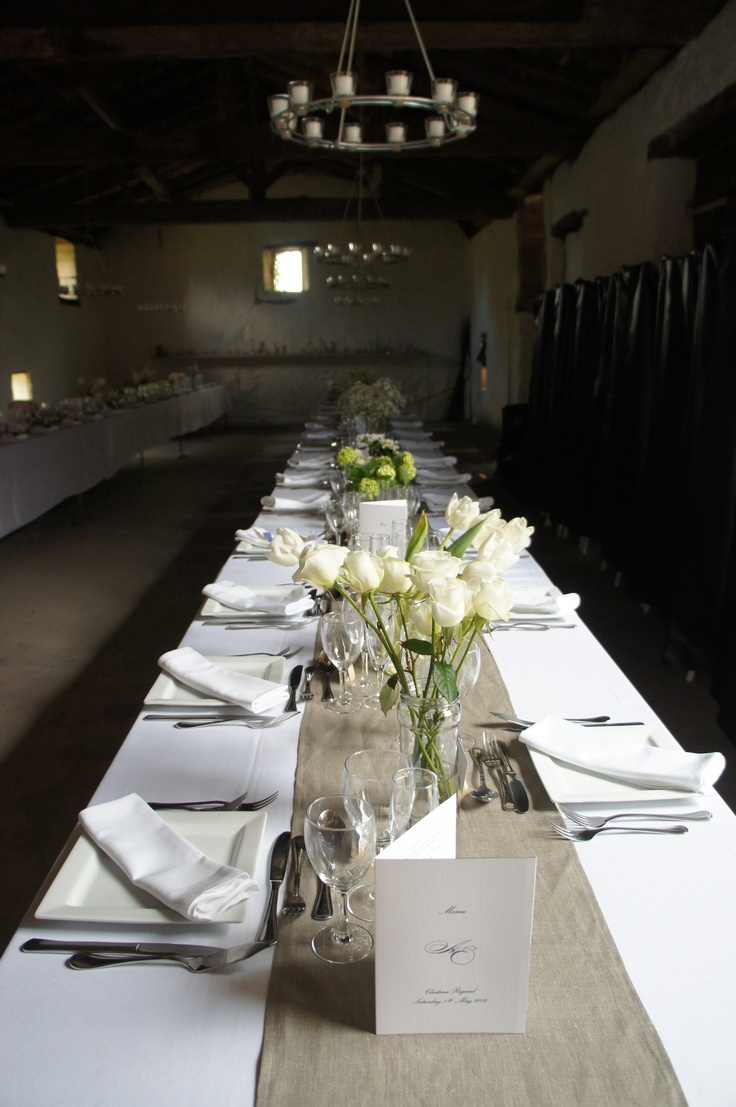 Superior Wedding Barn Set Up With Rectangular Tables. Linen Table RunnersMarquee ...