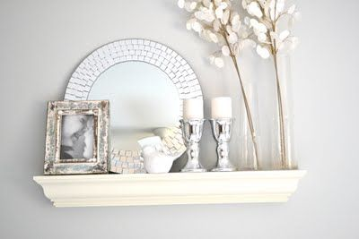 Rustic Frame: TJ Maxx $7.99 Mirror: CSN Stores Online $30.00 Candle sticks: Local Antique Store $5.00  Stems: Local Craft Store $2.00 per Bird: Michaels $4.00 Vases: They were candle holders, but I transformed them. & they were a gift.