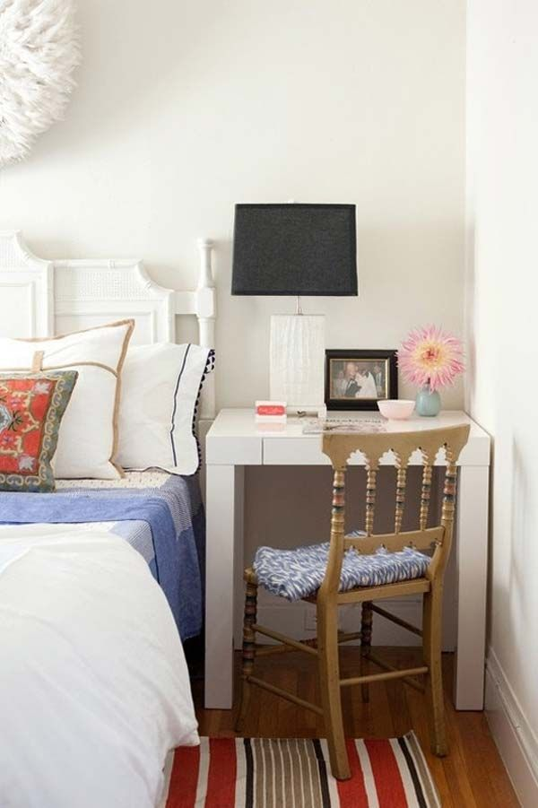 Desk as a bedside table. - 20 Tiny Bedroom Hacks Help You Make the Most of Your Space