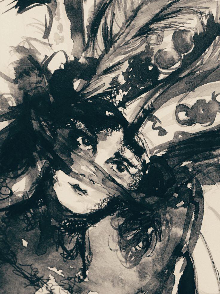 WIP ~ Veil and Feathers in ink #art #artist #drawing #ink #female #inkdrawing