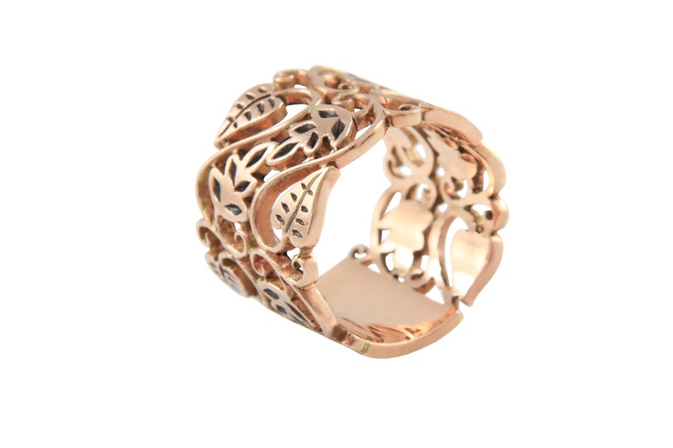 gold bands | Wide Passion Vine Rose Gold Ring | Love and Hatred