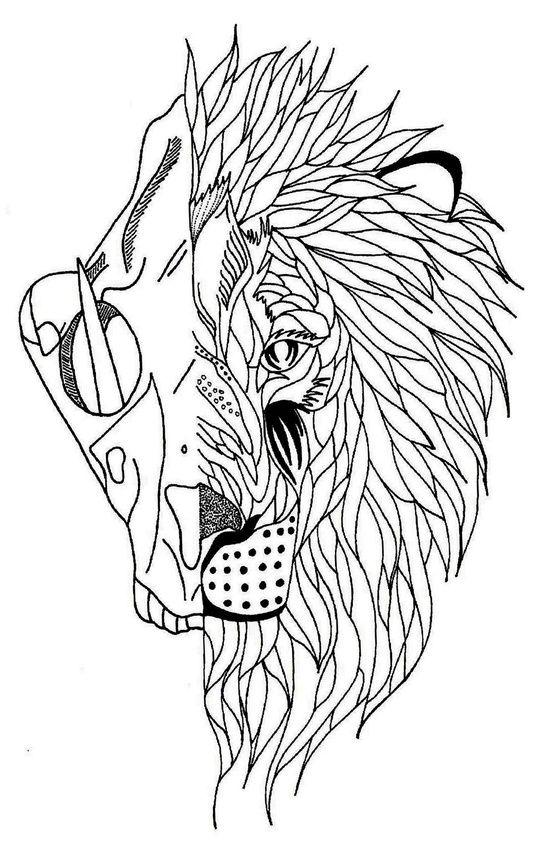 half lion skull half lion face art print products lion