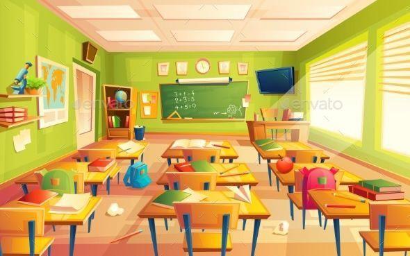 Vector Classroom Interior Educational Concept Mathematics Room Blackboard Desks School Supplies Trainin Classroom Background Classroom Interior Classroom