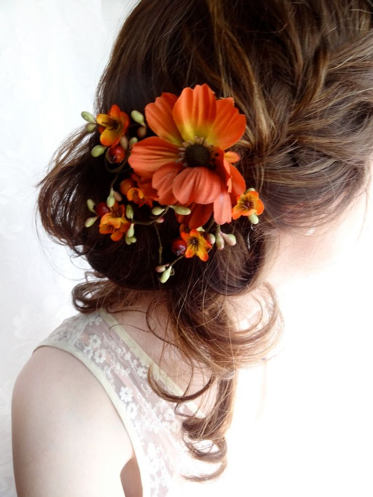 fall wedding, hair clip, autumn wedding, fall flower, hair accessory - WILDWOOD BRAMBLE - burnt orange flower. $55.00, via Etsy.