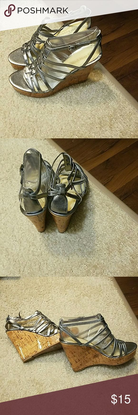 Enzo Angiolini silver wedge sandal NWOT silver wedge sandal Enzo Angiolini Shoes Wedges