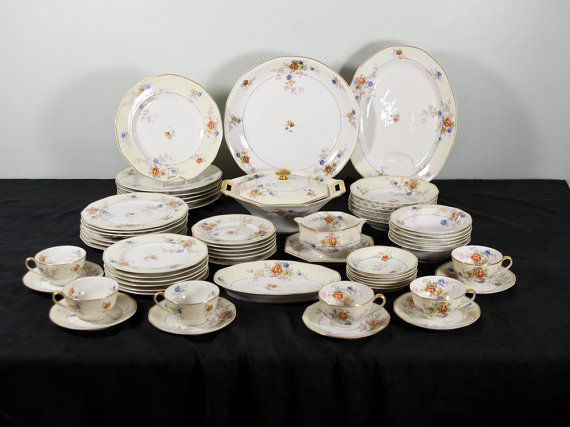 Theodore Haviland Limoges Jewel 60pc Dinnerware Set Serving Pieces Vintage Floral Pattern Dishes & 214 best Ceramics Pottery Dinnerware images on Pinterest | Cutlery ...