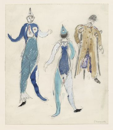 Marc Chagall. Two Fish and a Veteran. Costume design for Scene IV of the ballet Aleko. (1942)