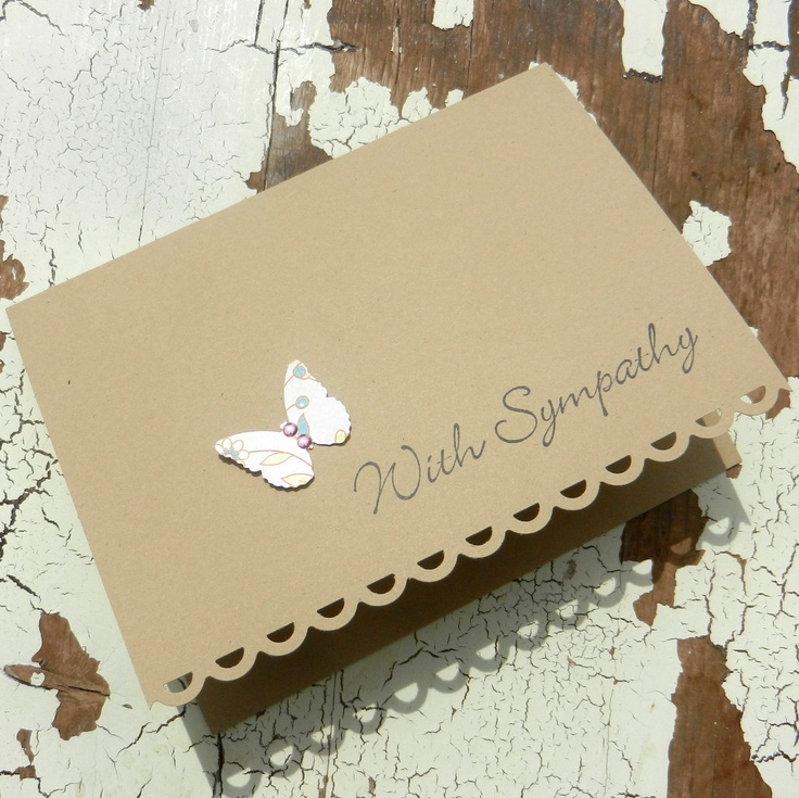 Handmade Sympathy Greeting Card - Simple Butterfly. $2.25, via Etsy.
