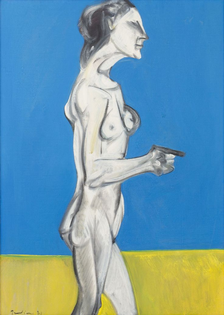 """SALVATORE PROVINO (Bagheria (Pa) 1943) OLIO su tela """"figura femminile"""" firmto in basso a sinistra e sul retro (con dedica a Franco Grasso)."""