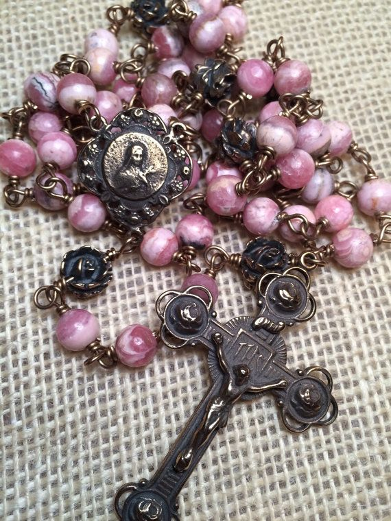 St. Therese Lisieux Rose Rosary Wire wrapped Bronze by EtCordeLLC