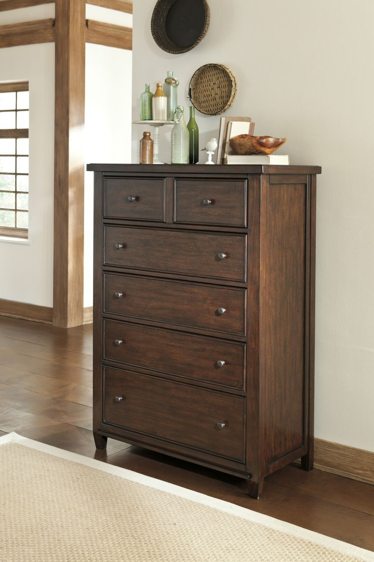 Signature Design By Ashley Hindell Park Chest With Six Drawers, Antique  Brass Knobs And English Dovetail Drawer Construction In Warm Brown