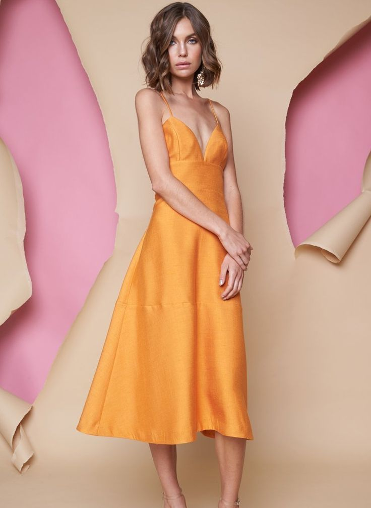 Pink Stitch - Ps The Label Heart Lines Midi Dress - Tangerine