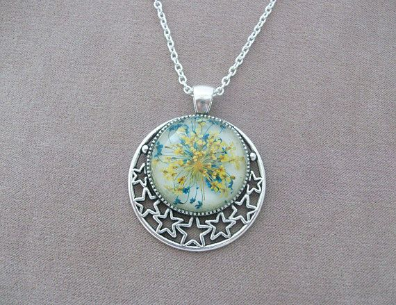 Real Flowers Pendant Necklace with Silver Pierced Stars - wild carrot flowers, Queen Anne's Lace