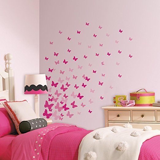 Wall Designs For Girls Room diy ombre dresser tutorial Pink Flutter Butterflies Wall Stickers Add A Splash Of Pink To A Room With These Pink Flutter Butterflies Decals From Roommates Allow Your Creativity To