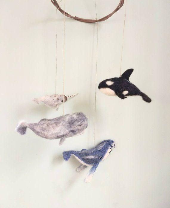 Whale Decor  Felt whale  needle felted animals  Spring Decor  Felt Decoration  Nursery Decorstion  Animal Decor  Children Decor