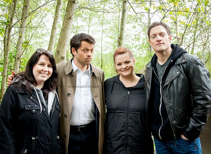 Misha Collins and Tahmoh Penikett on Supernatural set in Vancouver, April 2014.