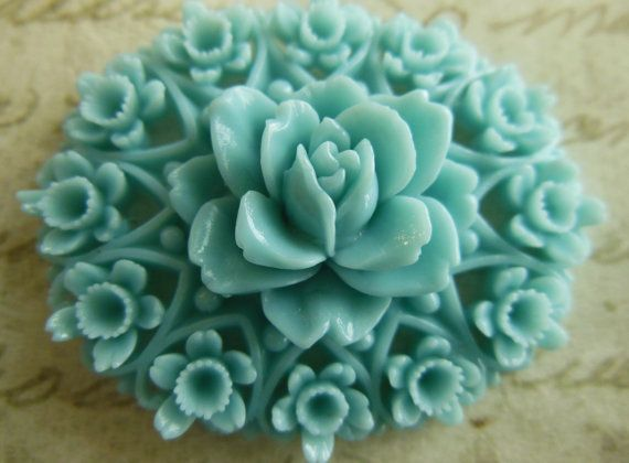 Vintage Huge rare celluloid turquoise blue detailed by a2zDesigns, $4.00