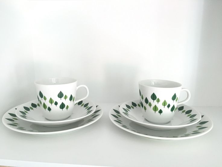 Two Rorstrand Park extremely rare tea cup by VintageDesignTreats