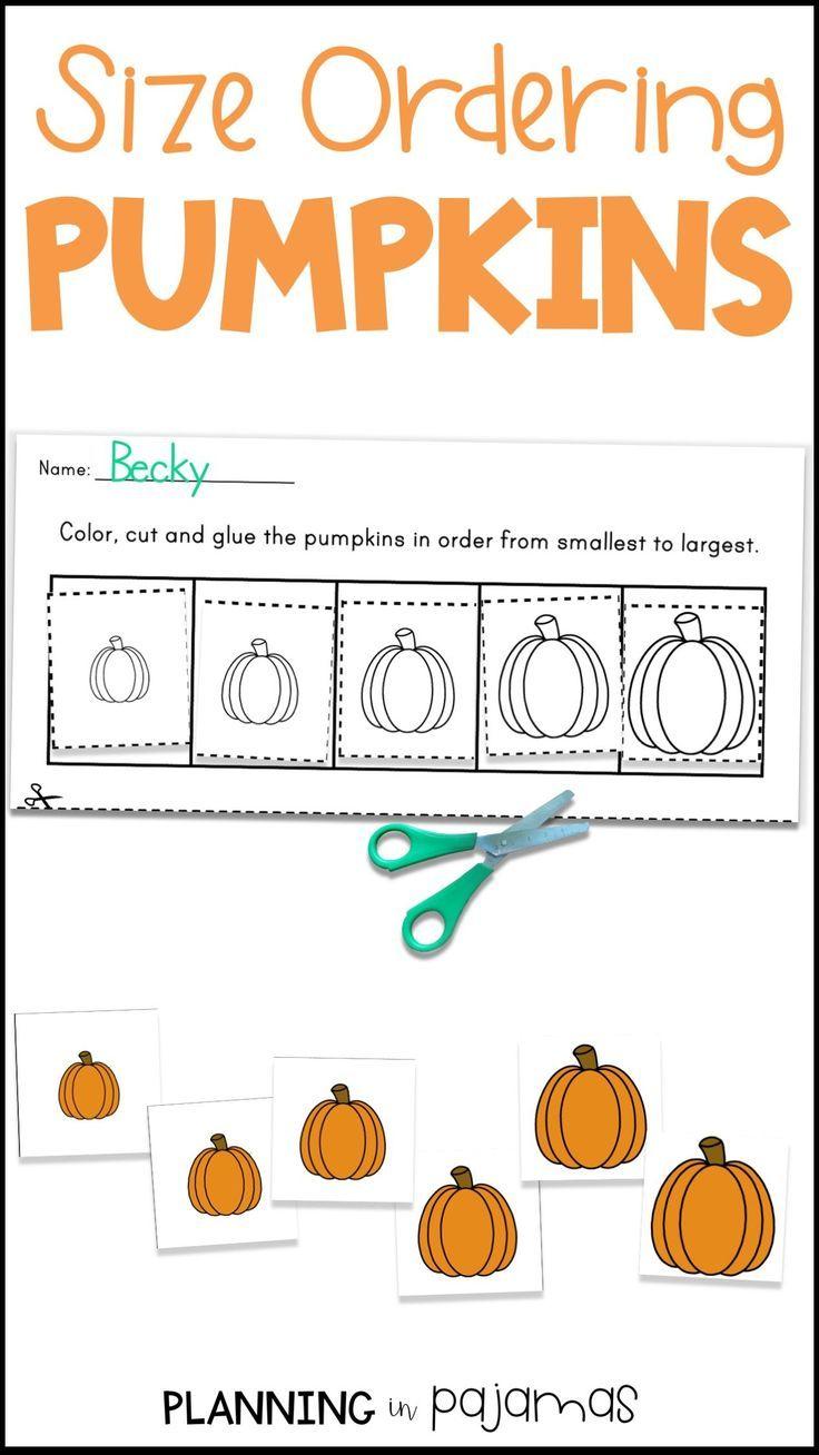 Pumpkins Size Ordering Worksheets And Size Order Cards Smallest To Biggest Largest To Smalle Kindergarten Math Games Pumpkins Kindergarten Fall Kindergarten [ 1308 x 736 Pixel ]