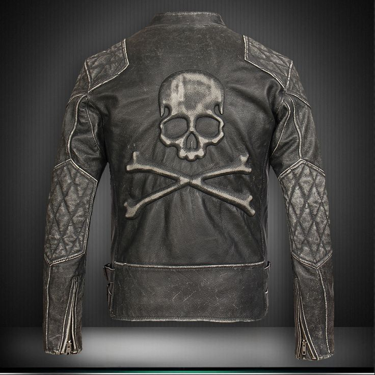 Find More Leather & Suede Information about Men's Leather Jacket Black Motorcycle Short Slim 100% Genuine Cow Skin The Skull Stand Collar Retro Coat  Wholesale,High Quality jacket dog,China coat jacket men Suppliers, Cheap jacket outdoor from ShowGirl Fashion on Aliexpress.com
