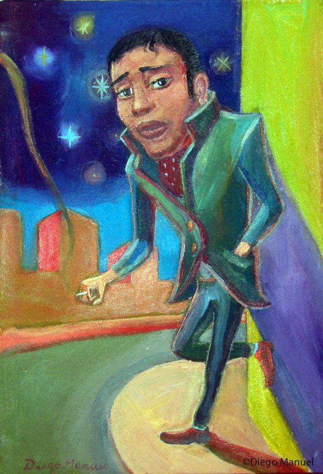 """""""Fumando espero(b)"""" , acrylic on canvas, 18 x 26 cm. year 2012 . Sale of a painting of the Argentine Tango. Venta de una pintura sobre el tango Argentino."""