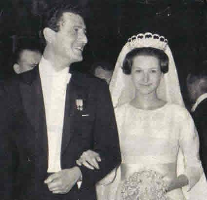 Donna Olimpia Torlonia di Civitella-Cesi , 4th and youngest child of Infanta Beatriz of Spain, shown here on her wedding to Paul-Annick Weiller. One of her daughters, Sibilla, married into the Grand Ducal family of Luxembourg.