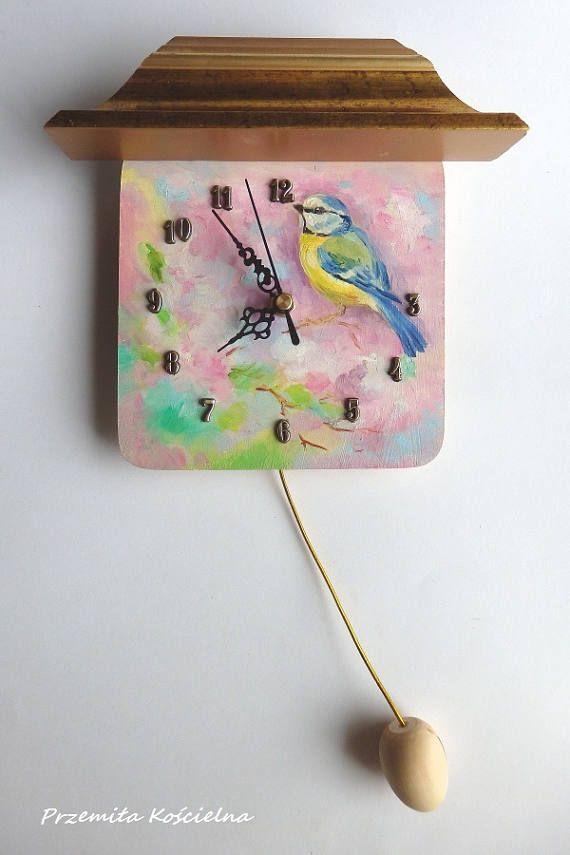 Blue Tit BIRD Hand painted CLOCK Funny Small Clock with egg #funny #clock #homedecor #paintedclock #handmade #etsy #pastel #painting #birds #bluetit #animals #animalart #spring #CanisaArtStudio