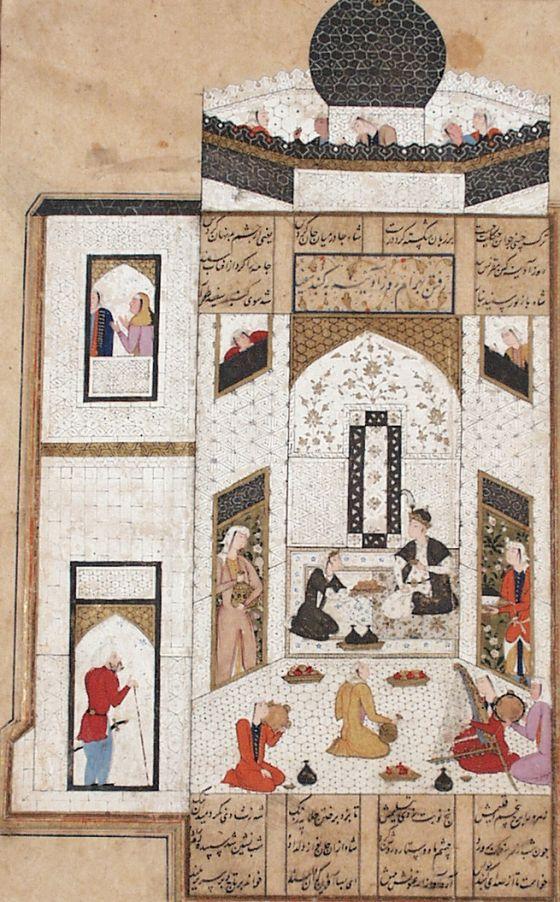 Bahram Gur with the Persian Princess in the White Pavillion, Page from a Manuscript of the Khamsa (Quintet) of Nizami Iran, Shiraz, circa 1...