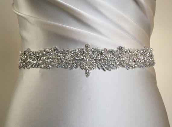 Luxury bridal belt silver wedding belt by MagnificenceBridal