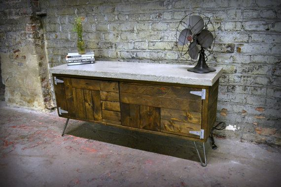 Salvaged Wood and Raw Concrete Credenzas