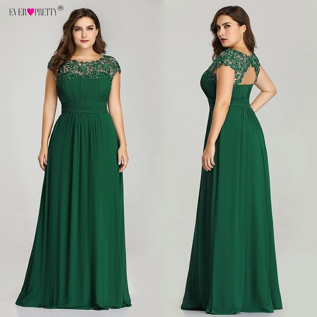 Long Prom Dresses Ever Pretty EP09993 2019 Dark Green Plus Size Lace Appliques O-Neck A-Line Navy Blue Ladies Formal Party Dress