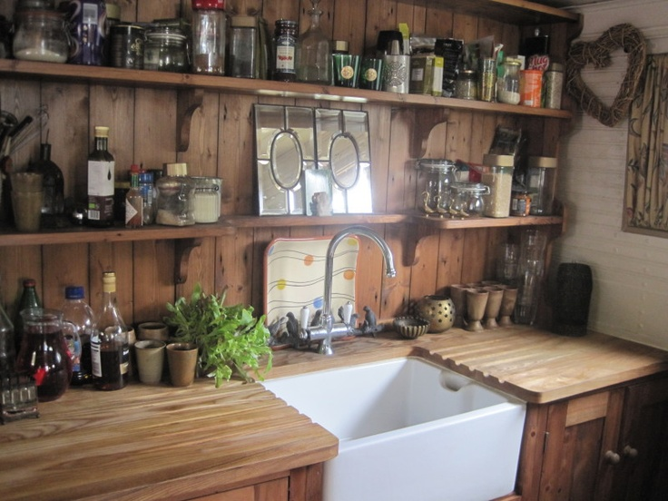 Dutch Barge with residential mooring - reclaimed pine kitchen