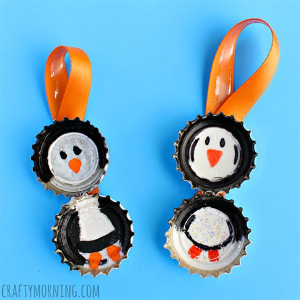 Lavoretto con tappi di metallo: i pinguini
