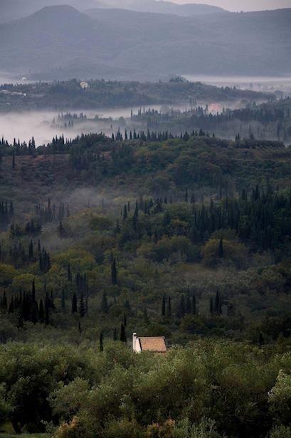 Morning Mists in Corfu Island Valleys, Greece