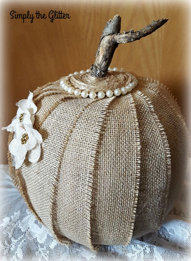 Shabby Chic Burlap Pumpkin, Thanksgiving and Fall Decoration, Recycled and Repurposed Decoration