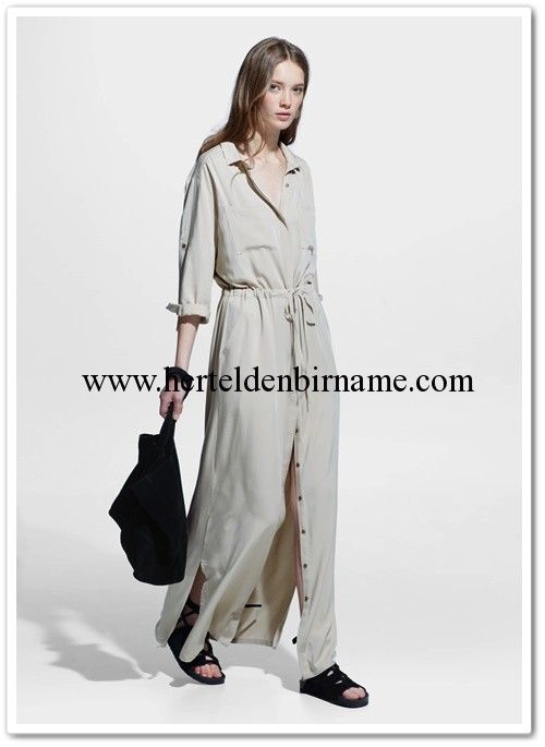 Mango 2015 bej beli büzgülü gömlek elbise #mango #dress #shirts #moda #fashion #trend #elbise #gömlek