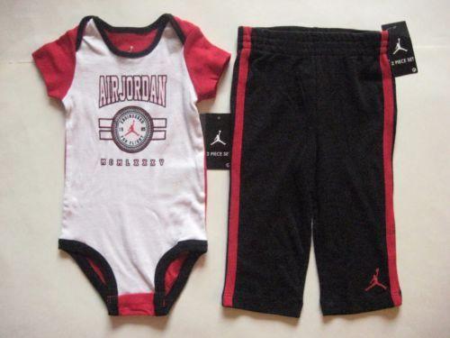 New-NIKE-Air-Jordan-2pc-Infant-Baby-Boy-Black-White-Red-Bodysuit-Pants-9-12M