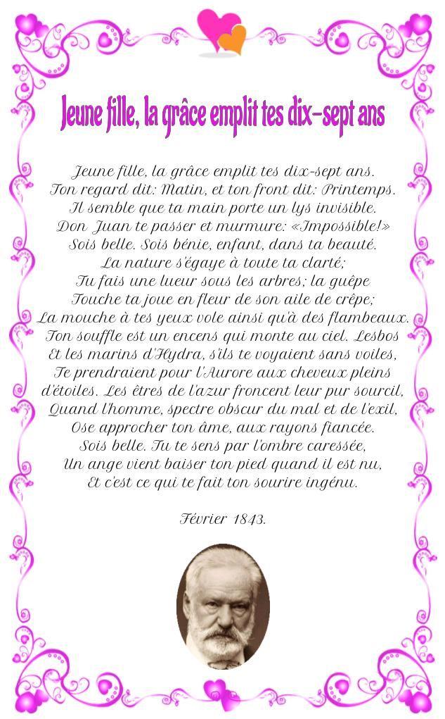 Jeune Fille La Grâce Emplit Tes Dix Sept Ans Hugo