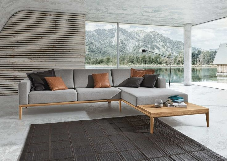 Marvelous Sofa In Grauem Stoff Mit Integrierter Holzablage Images