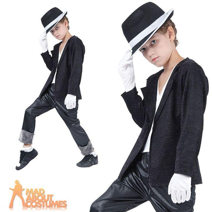 Child Michael Jackson 80s Superstar Costume Billie Jean Boys Fancy Dress Outfit