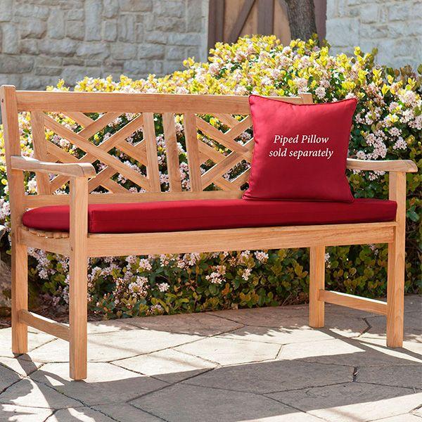 Amalie Reversible Crimson Indoor Outdoor Bench Seat Cushion Bench Seat Cushion Outdoor Bench Seat Cushions Outdoor Bench Seating